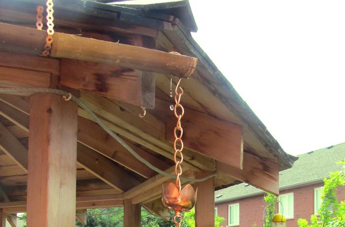 Sistema de canalización pluvial en el jardín de una casa